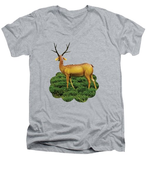 Pretty Deers Playing In The Forest. Men's V-Neck T-Shirt
