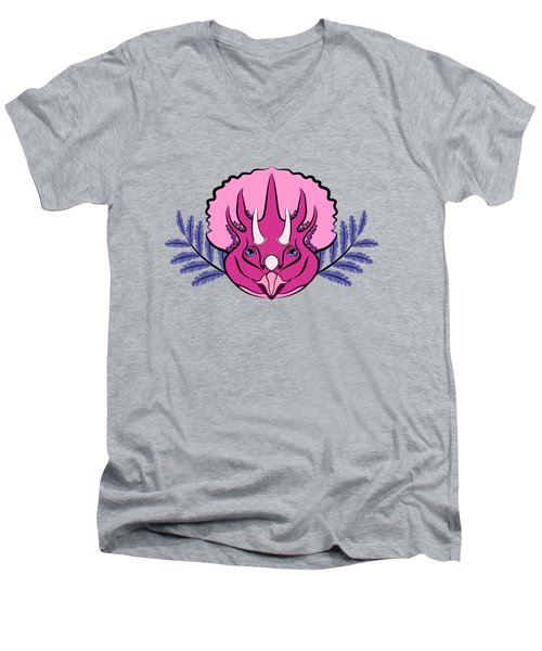 Pretty Pink Triceratops Men's V-Neck T-Shirt