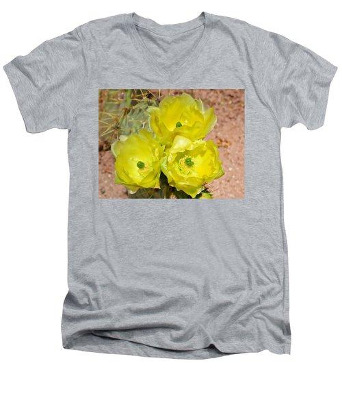 Prickly Pear Cactus Trio Bloom Men's V-Neck T-Shirt
