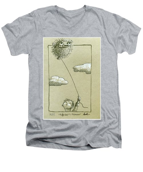 Puffaloon  Men's V-Neck T-Shirt