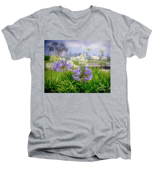 Purple Flowers In San Diego Men's V-Neck T-Shirt
