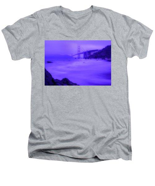 Purple Golden Gate Fog Men's V-Neck T-Shirt