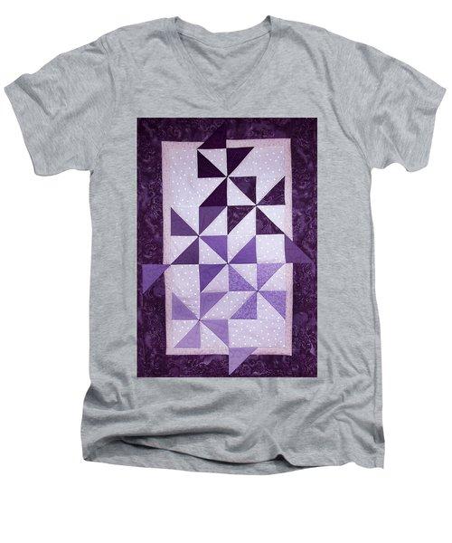 Purple Pinwheels Pirouetting Men's V-Neck T-Shirt