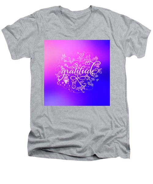 Purply Pink Gratitude Men's V-Neck T-Shirt