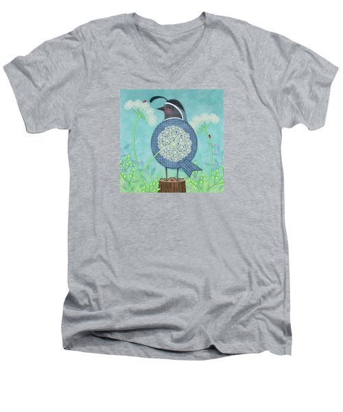 Q Is For Quail And Queen Anne's Lace Men's V-Neck T-Shirt