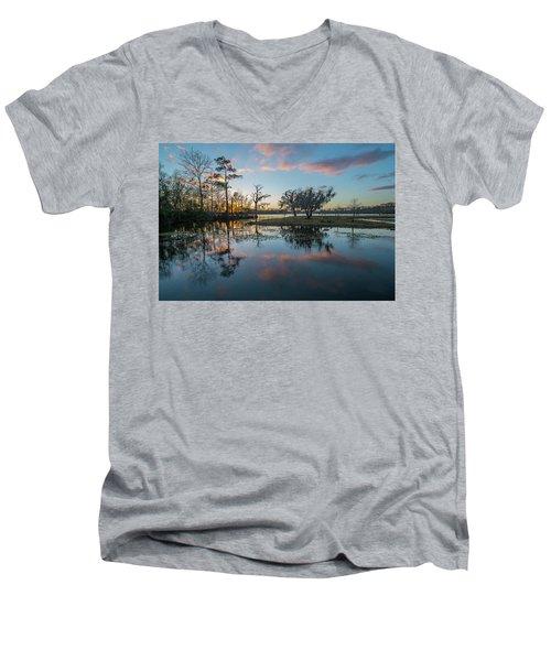 Quiet River Sunset Men's V-Neck T-Shirt