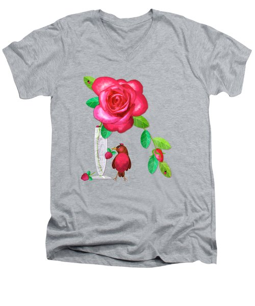 R Is For Rose And Robin Men's V-Neck T-Shirt