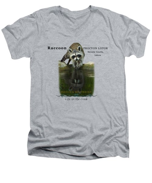 Raccoon Puzzler And Mastermind Men's V-Neck T-Shirt