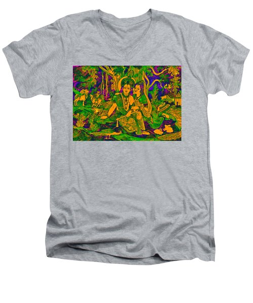 Men's V-Neck T-Shirt featuring the digital art Radhe Krishna by Bliss Of Art