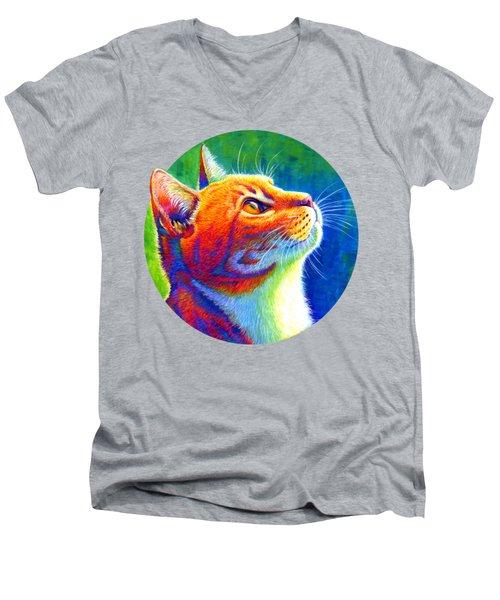 Rainbow Cat Portrait Men's V-Neck T-Shirt