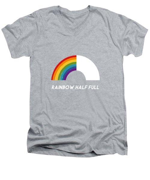 Rainbow Half Full- Art By Linda Woods Men's V-Neck T-Shirt