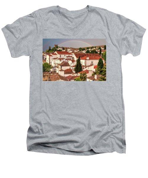 Rainbow Over Castle Men's V-Neck T-Shirt