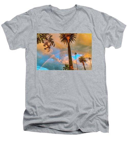 Rainbow Over The Palms Men's V-Neck T-Shirt