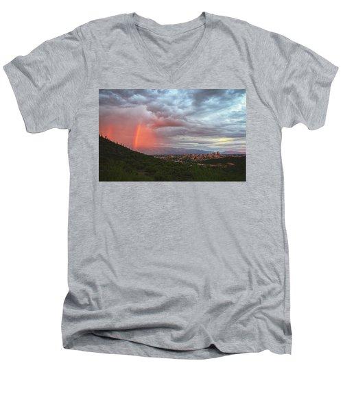 Rainbow Over Tucson Skyline Men's V-Neck T-Shirt