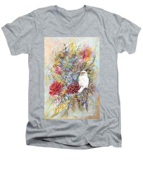 Men's V-Neck T-Shirt featuring the painting Rare White Sparrow - Portrait View. by Ryn Shell