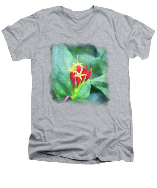 Red And Yellow Flowers Men's V-Neck T-Shirt