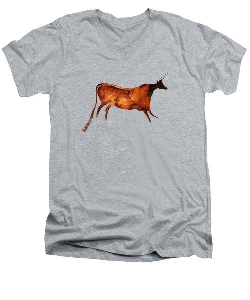 Red Cow In Beige Men's V-Neck T-Shirt