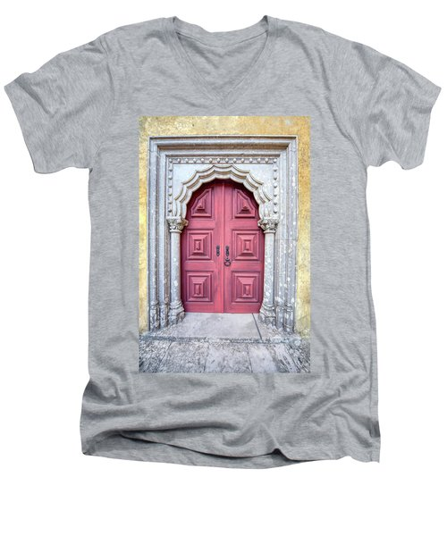 Red Medieval Door Men's V-Neck T-Shirt