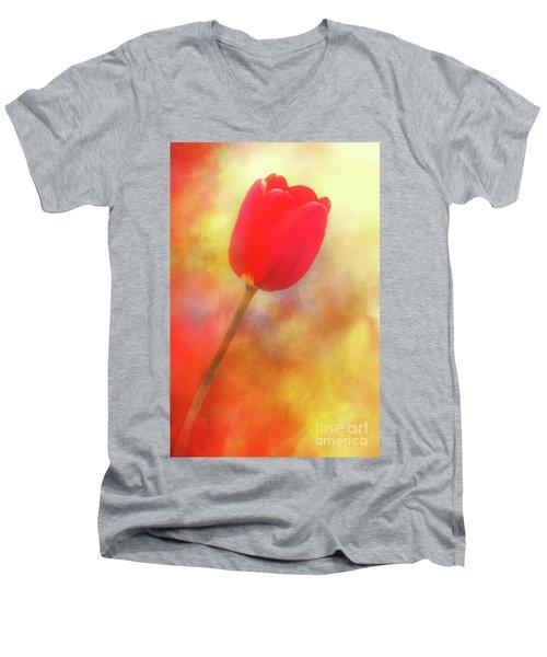 Red Tulip Reaching For The Sun Men's V-Neck T-Shirt