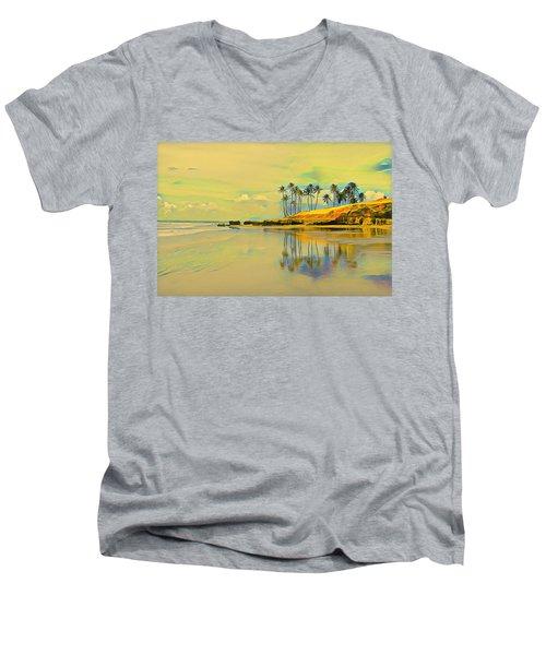 Reflection Of Coastal Palm Trees Men's V-Neck T-Shirt