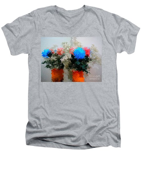 Men's V-Neck T-Shirt featuring the digital art Reflection Of Flowers In The Mirror In Van Gogh Style by Christopher Shellhammer