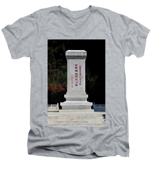 Remembrance Monument With Chinese Writing At China Cemetery Gilgit Pakistan Men's V-Neck T-Shirt
