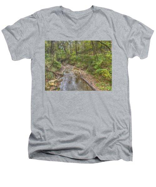 River Flowing Through Pine Quarry Park Men's V-Neck T-Shirt