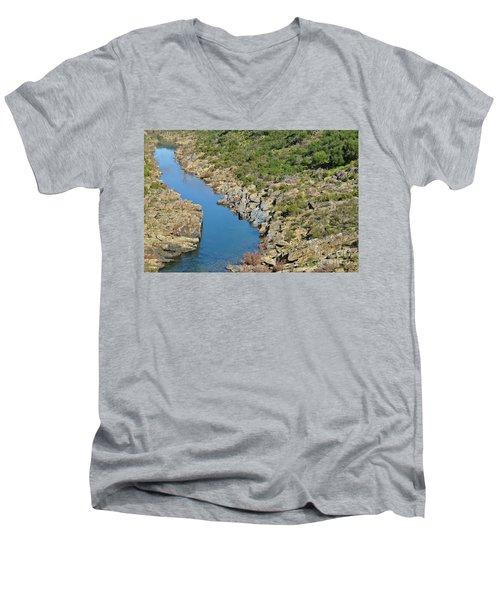 River On The Rocks. Color Version Men's V-Neck T-Shirt