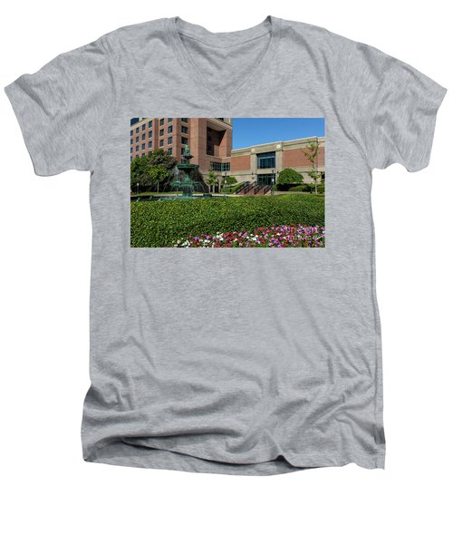 Riverwalk Augusta Ga Fountain Men's V-Neck T-Shirt