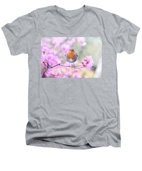 Robin On Pink Flowers Men's V-Neck T-Shirt