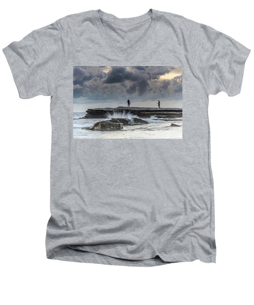 Rock Ledge, Spear Fishermen And Cloudy Seascape Men's V-Neck T-Shirt
