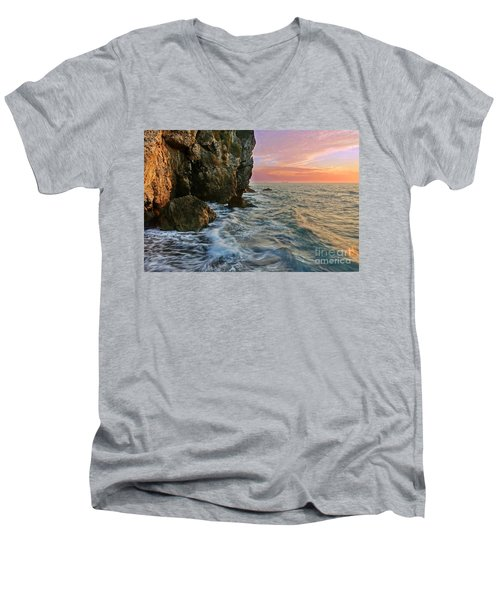 Rocky Cliffs And Waves During Sunset Men's V-Neck T-Shirt