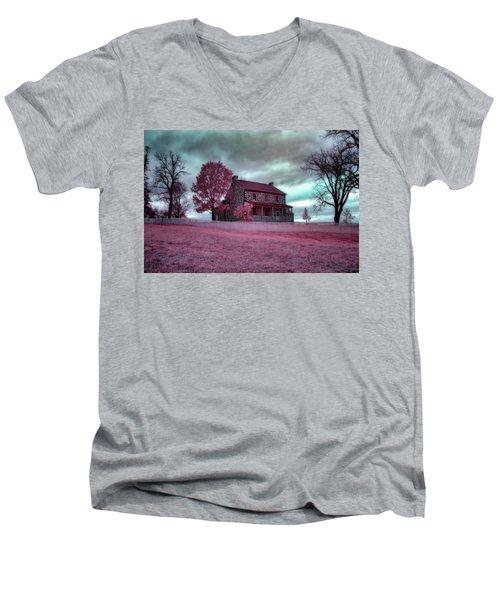 Rose Farm In Infrared Men's V-Neck T-Shirt