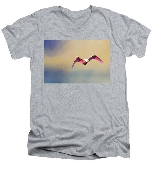 Roseate Spoonbill At Sunrise Men's V-Neck T-Shirt