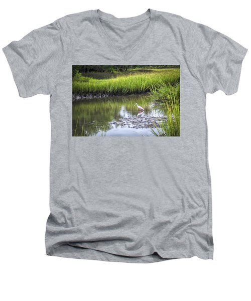 Roseate Spoonbill - Feeding Men's V-Neck T-Shirt