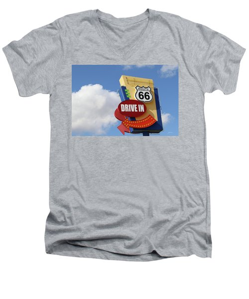 Route 66 Drive-in Sign Men's V-Neck T-Shirt