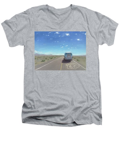 Route 66, Somewhere In California Men's V-Neck T-Shirt