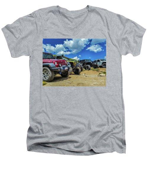 Row Of Jeeps Men's V-Neck T-Shirt
