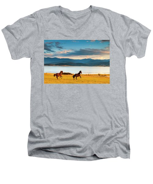 Running Horses Men's V-Neck T-Shirt