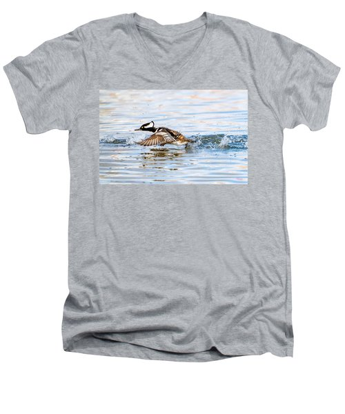 Running Take Off -- Hooded Merganser Men's V-Neck T-Shirt