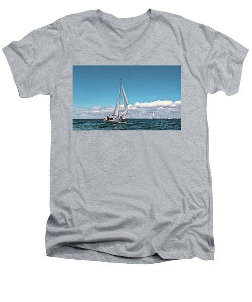 Sailing Regatta On A Brisk Summer's Day Men's V-Neck T-Shirt