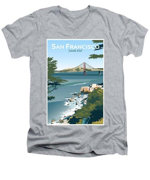 San Francisco Lands End Men's V-Neck T-Shirt