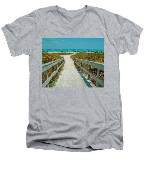 Sanibel Beach Umbrellas Men's V-Neck T-Shirt