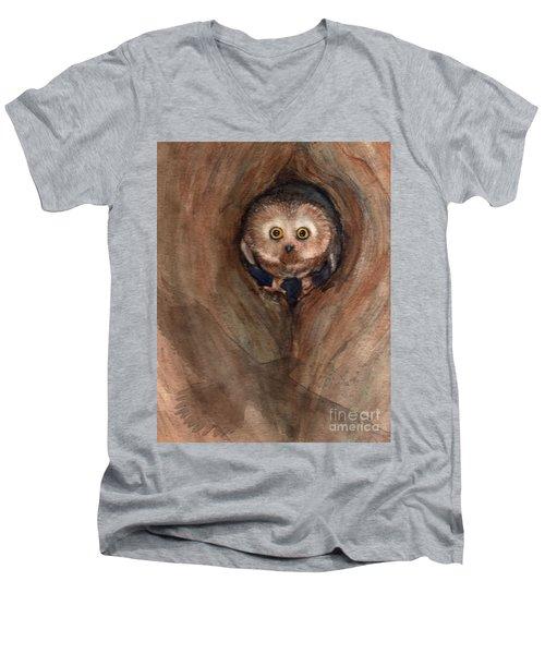 Scardy Owl Men's V-Neck T-Shirt