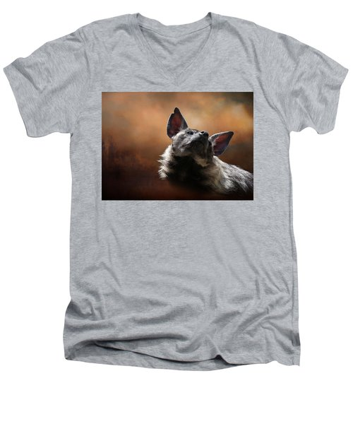 Men's V-Neck T-Shirt featuring the photograph Scenting The Air - Striped Hyena by Debi Dalio