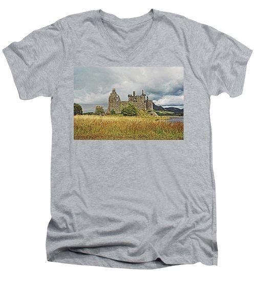 Scotland. Loch Awe. Kilchurn Castle. Men's V-Neck T-Shirt