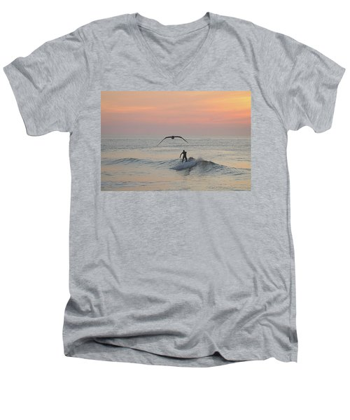 Seagull And A Surfer Men's V-Neck T-Shirt