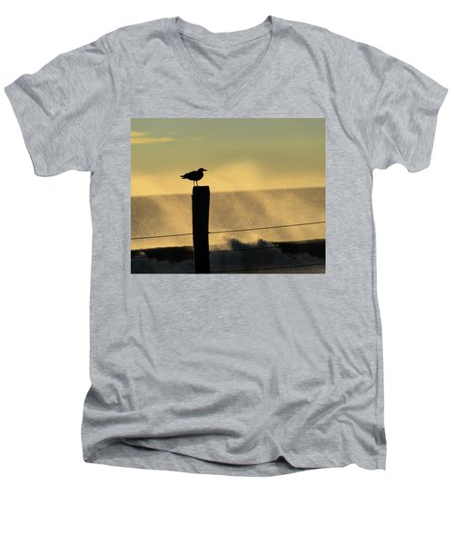 Seagull Silhouette On A Piling Men's V-Neck T-Shirt