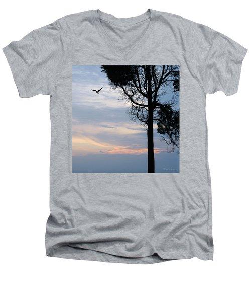 Seagull Sunset At Catawba Men's V-Neck T-Shirt