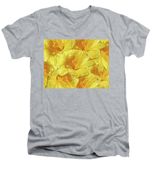 Men's V-Neck T-Shirt featuring the photograph Selective Yellow Lilies by Rockin Docks